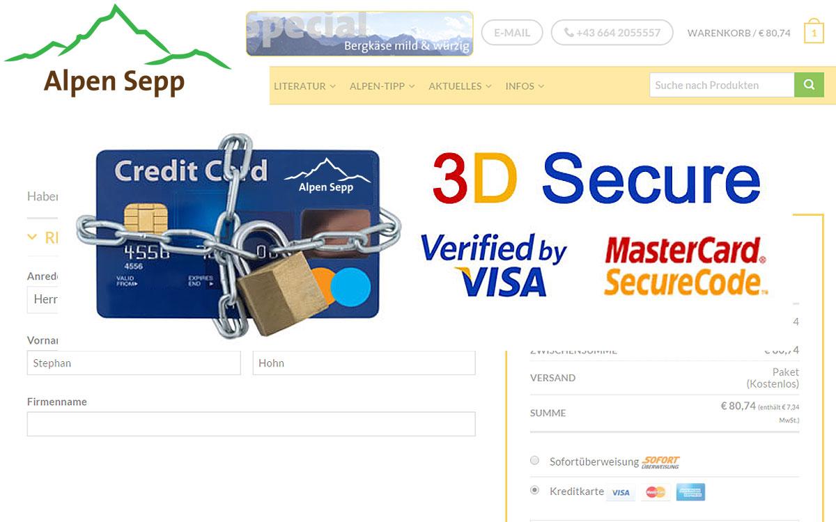 3 D Secure Visa Mastercard Anmeldung und Verifizierung