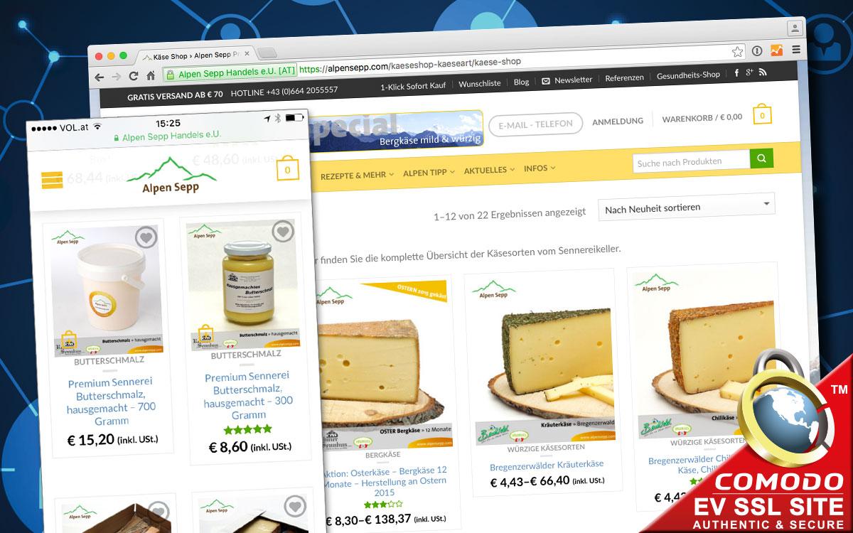 Schnell und sicher einkaufen beim Alpen Sepp - am PC und am Smartphone!