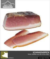 Schinkenspeck vom Schwein geschnitten