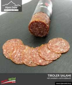 Tiroler Salami mit Zwiebeln und Knoblauch