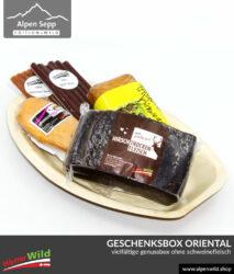 Geschenkbox ORIENTAL ohne Schweinefleisch. Mit Rind, Hirsch, Huhn, Pute und Bäckerei mit Birnen