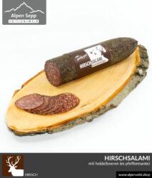 Hirschsalami mit Heidelbeeren im Pfeffermantel