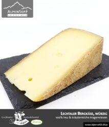 Lechtaler Bergkäse würzig   100% Heu und kräuterreiche Magerwiese   Lechtaler Naturkäserei in Tirol   100% Heumilch   45% F.i.T.